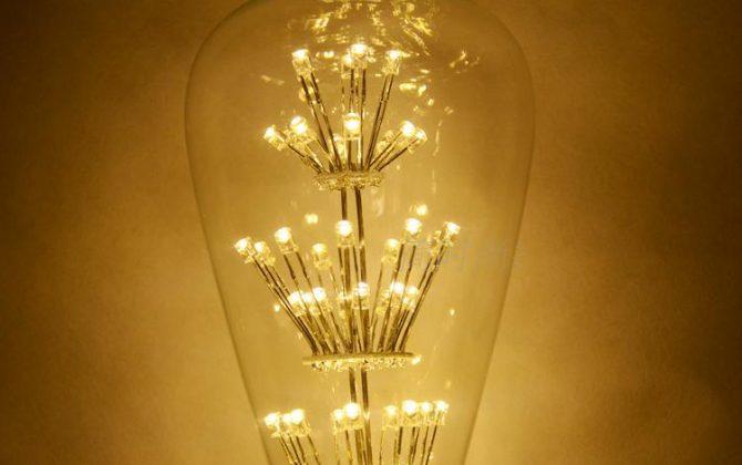 FIREWORKS žiarovka je rustikálneho vzhľadu a poskytuje krásne kultivované svetlo s perfektnou reprezentáciou farieb3 670x420 - FIREWORKS žiarovka - TEARDROP - E27, 3W, 200lm