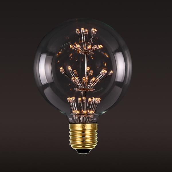 LED diódy generujú menej tepla čo je dôvod prečo sú tak účinné na dlhodobé používanie12 - FIREWORKS žiarovka - GLOBUS - E27, 3W, 200lm