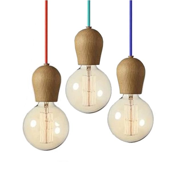 Drevené dubové svietidlo stropné - Závesný drevený luster z dubového dreva s veľkosťou 10cm s pomarančovou textilnou šnúrou