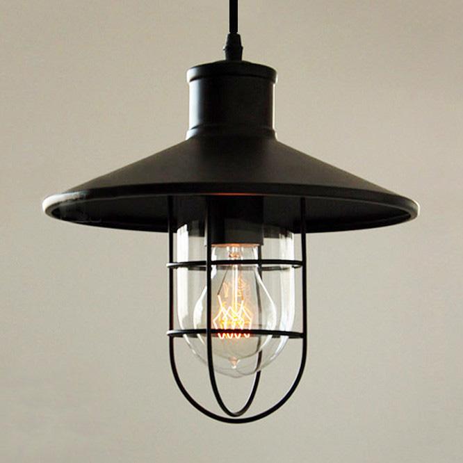Historické závesné svietidlo Black Cage s čiernym tienidlom2 - Historické závesné svietidlo Black Cage s čiernym tienidlom