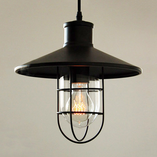 Historické závesné svietidlo Black Cage s čiernym tienidlom3 - Historické závesné svietidlo Black Cage s čiernym tienidlom