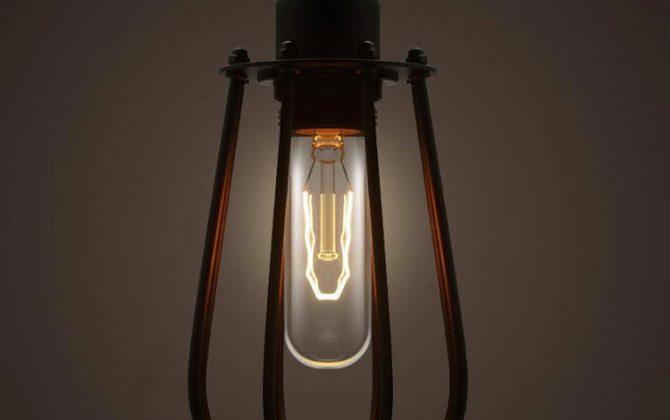 Priemyselný vzhľad a ocelová klietka určená pre ochranu žiarovky2 670x420 - Historické závesné svietidlo v tvare hrušky