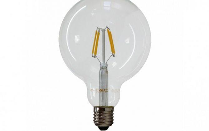 FILAMENT žiarovka SPHERE E27 Teplá biela 6W 550lm V TAC 670x420 - FILAMENT žiarovka - SPHERE - E27, Teplá biela, 6W, 550lm, V-TAC