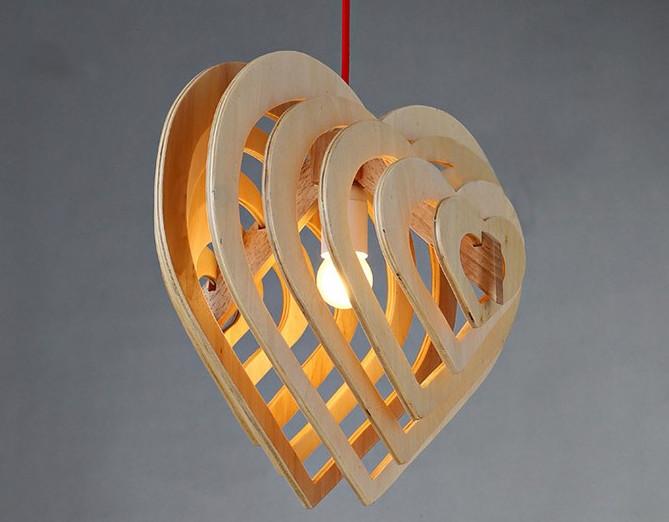Závesné kreatívne drevené svietidlo HEART8 - Závesné kreatívne drevené svietidlo - HEART