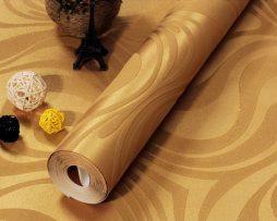 Textilná reliéfna tapeta na stenu v zlatej farbe