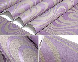 Textilná reliéfna tapeta na stenu v purpurovej farbe