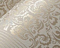 Vzorovaná textilná reliéfna tapeta na stenu v hnedej farbe