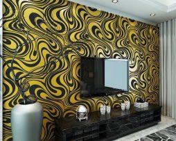 Textilná reliéfna tapeta na stenu v zlato-čiernej farbe