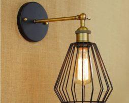Nástenné retro svietidlo Bampton s klietkou (2)