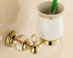Free shipping Golden Crystal Brass Glass Bathroom Accessories Single cup Tumbler Holders Toothbrush Cup Holders HK 254x203 - Retro mosadzný stojan na pohárik s kryštáľom zlatý