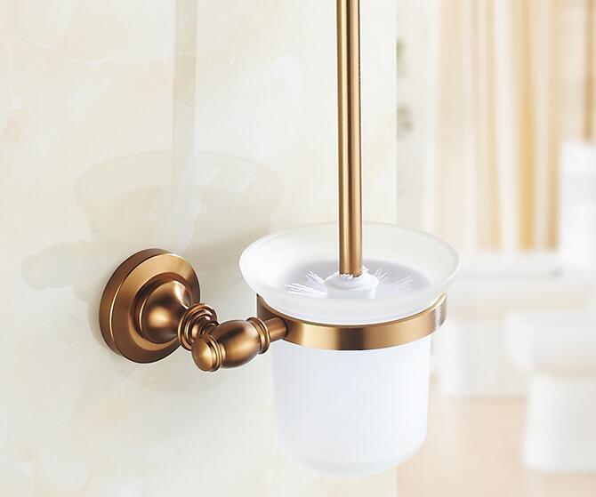 Hliníkový držiak na WC kefu v zlatej úprave