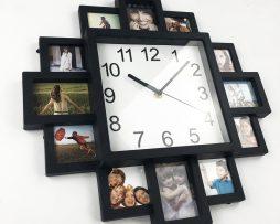 Moderné nástenné hodiny s foto-rámikmi
