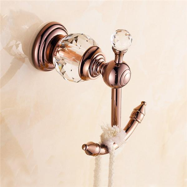 Moderný mosadzný vešiak do kúpeľne 1 - Retro mosadzný vešiak s kryštáľom do kúpeľne v rôznych farbách