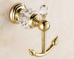 Retro mosadzný vešiak s kryštáľom do kúpeľne