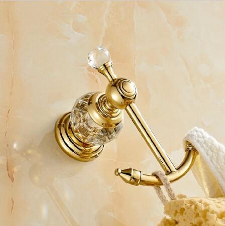 Moderný mosadzný vešiak do kúpeľne 7 - Retro mosadzný vešiak s kryštáľom do kúpeľne v rôznych farbách