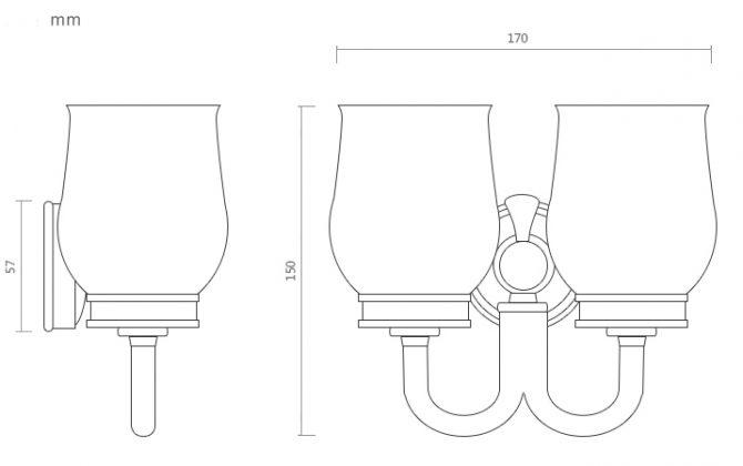 Mosadzný dvojitý retro držiak s pohárikmi