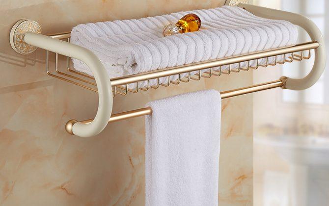 Mosadzný vintage stojan / polica na uteráky v rôznych prevedeniach