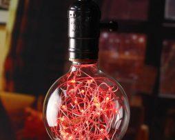 Dekoračná LED žiarovka EDISON, E27, 150lm, Globus, Červená.