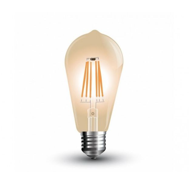 FILAMENT žiarovka Teardrop E27 4W 300lm Teplá biela Stmievateľná 1 - FILAMENT žiarovka - TEARDROP - E27, Teplá biela, 6W, 350lm, V-TAC