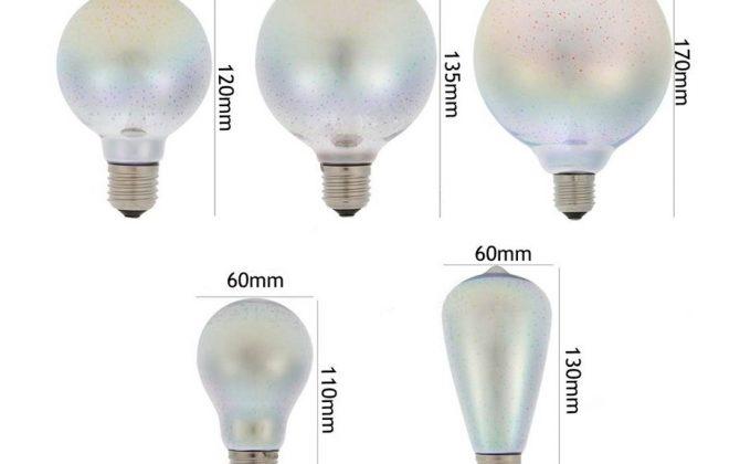 Kolekcia dekoratívnych žiaroviek obsahuje 3D farebný efekt 670x420 - 3D FIREWORKS, LED Dekoratívna žiarovka - Globus, E27, 5W, 100lm