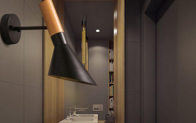 Elegantné nástenné svietidlo Nordic v čiernej farbe kombinuje kvalitný kov s prírodným dreveným materiálom3 670x420 - Elegantné nástenné svietidlo Nordic v čiernej farbe