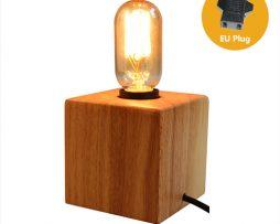 Historická stolová lampa z prírodného dreva so stmievačom1