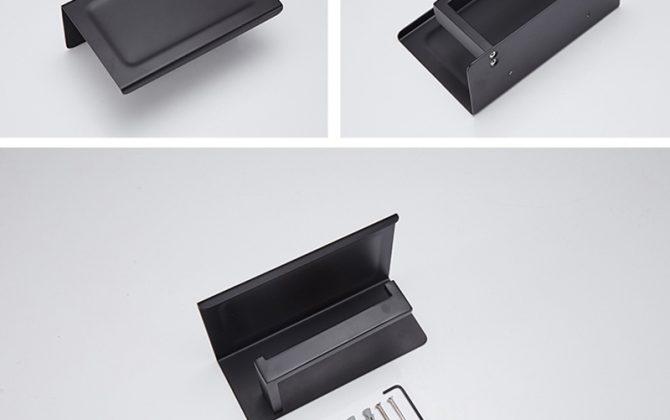 Čierny držiak na toaletný papier s poličkou