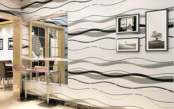 Moderná tapeta so vzorom v bielo - sivej farbe