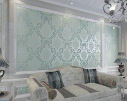 Textilná reliéfna tapeta na stenu s tyrkysovým vzorom