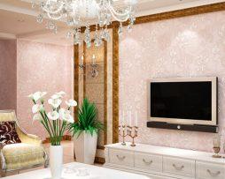 Prepracovaná ružová tapeta s kvetinovým vzorom