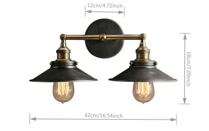 Historické dvojité nástenné svietidlo s čiernym tienidlom 2 670x420 - Historické dvojité nástenné svietidlo s čiernym tienidlom