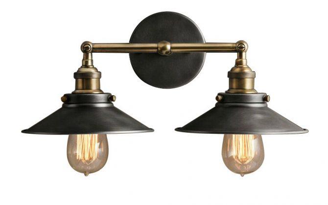 nastenne svietidla 670x420 - Historické dvojité nástenné svietidlo s čiernym tienidlom
