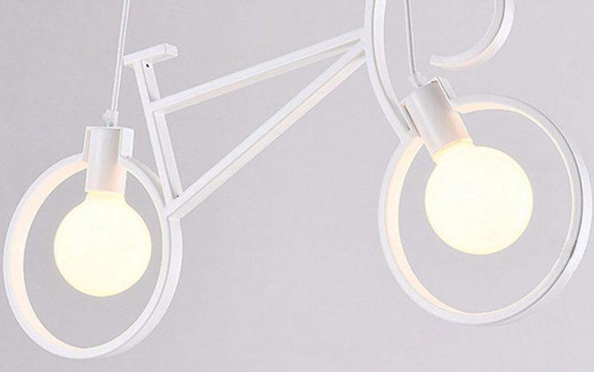 Kreatívne závesné svietidlo v podobe bicykla v bielej farbe 670x420 - Kreatívne závesné svietidlo v podobe bicykla v bielej farbe