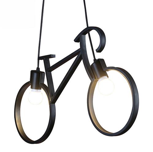 Kreatívne závesné svietidlo v podobe bicykla v čiernej farbe
