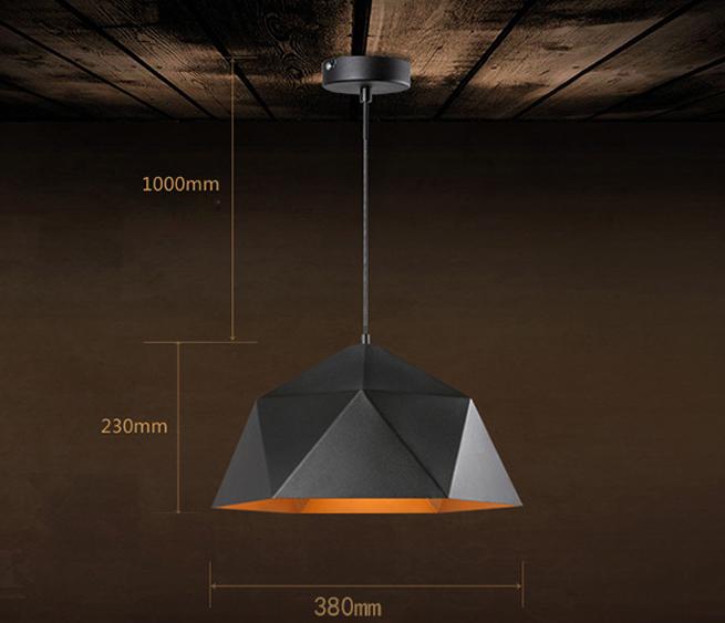 Svietidlo je vyrobené na žiarovky s päticami E27 - Závesné svietidlo Diamond v čiernej farbe