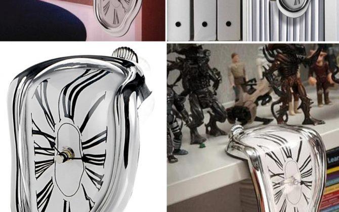 Kreatívne roztekajúce sa hodiny v striebornej farbe