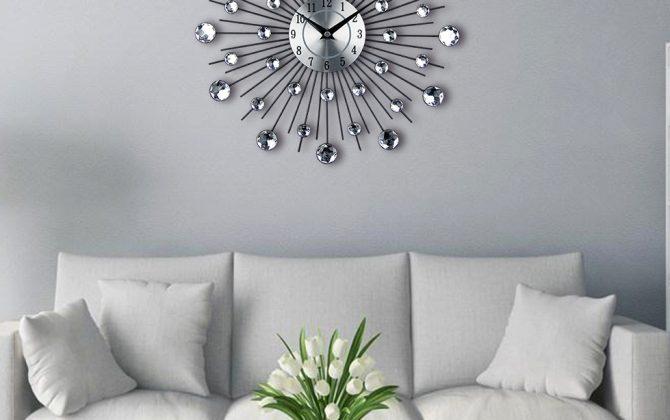 Luxusné kryštálové nástenné hodiny - strieborné