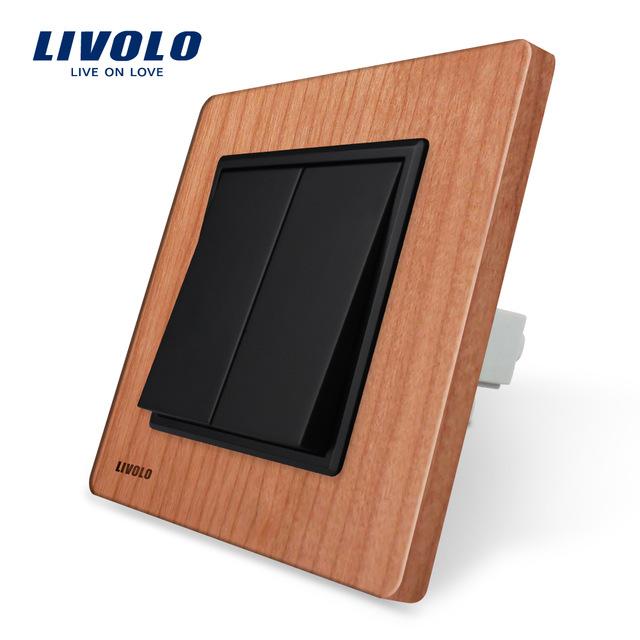 Livolo Manufacturer Luxury Cherry Wood Panel Push Button Switch Smart Home VL C7K2 21 2Gang 1Way.jpg 640x640 - Luxusný mechanický vypínač č.5B v drevenom prevedení