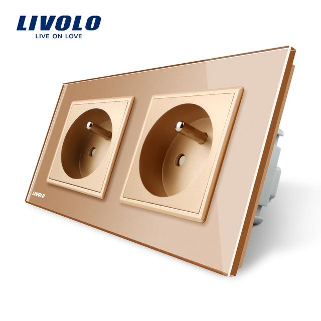 Luxusná dvojzásuvka s ochranným kolíkom v zlatej farbe 1 - Luxusná dvojzásuvka s ochranným kolíkom v zlatej farbe