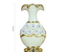 Luxusná porcelánová váza s kvietkami v bielo-zlatej farbe, 20,5 cm x 10 cm..