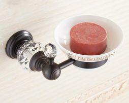 Elegantný stojan na mydlo s miskou a kryštálom cierna