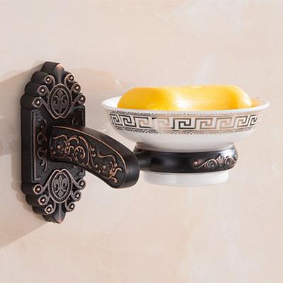 Luxusný nástenný držiak na mydlo v čiernej farbe držiak miska 1 2 - Luxusný nástenný držiak na mydlo v čiernej farbe, držiak + miska