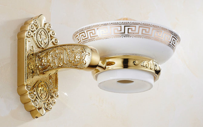 Luxusný nástenný držiak na mydlo v zlatej farbe držiak miska . 1 670x420 - Luxusný nástenný držiak na mydlo v zlatej farbe, držiak + miska