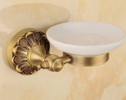 Luxusný staromosadzný stojan s miskou na mydlo ..