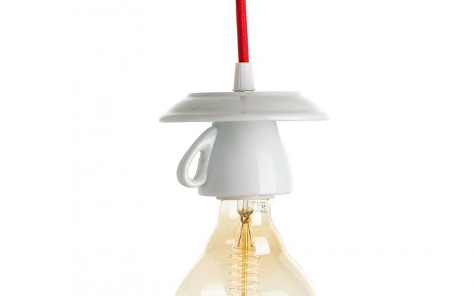 Dizajnové porcelánové svietidlo v tvare šálky (2)