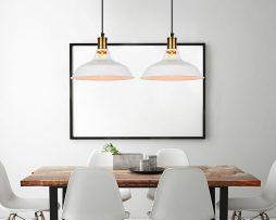 Retro závesné svietidlo Bar v bielej farbe (3)
