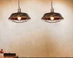 Retro závesné svietidlo Restaurant v zlato starej farbe (1)