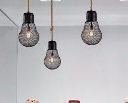 Závesné lanové svietidlo s čiernou klietkou v tvare žiarovky, 30cm (3)