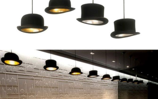 Ručne vyrobené svietidlo v tvare klobúka je lemované vnútorným pláštom v odrážajúcej farbe2 670x420 - Kreatívne závesné svietidlo Wooster v zlatej farbe