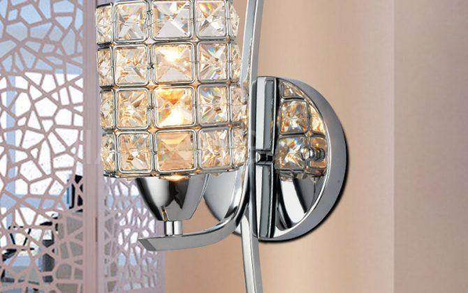 nástenné svietidlo nástenník osvetlenie zrkadiel staré lampy svietidlá do chodby1 670x420 - Moderné nástenné svietidlo v luxusnom dizajne v striebornej farbe